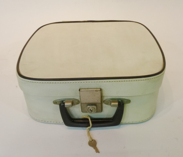 5: Small White with Blue Trim Vanity Case