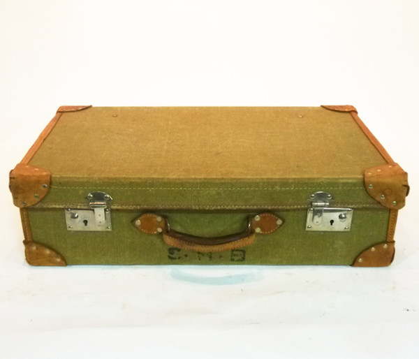 1: Pale Green Canvas with leather Trim Vintage Suitcase