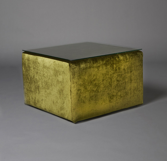 2: Green Velvet Square Pouf Table