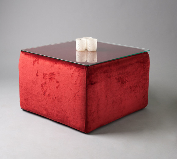 2: Red Velvet Square Pouf Table