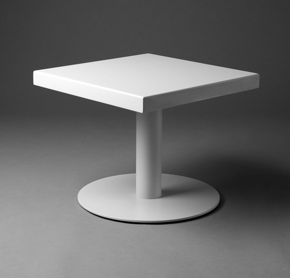 2: White Squared Top Round Foot Table
