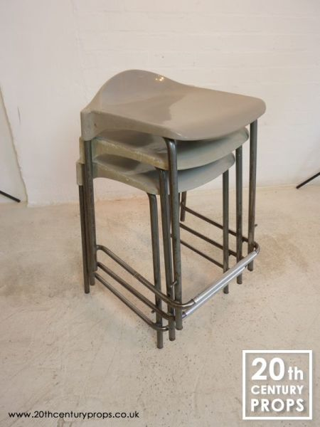 3: Stacking lab stools with metal legs