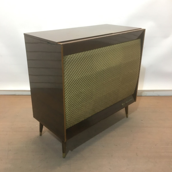1: Vintage music cabinet with record player
