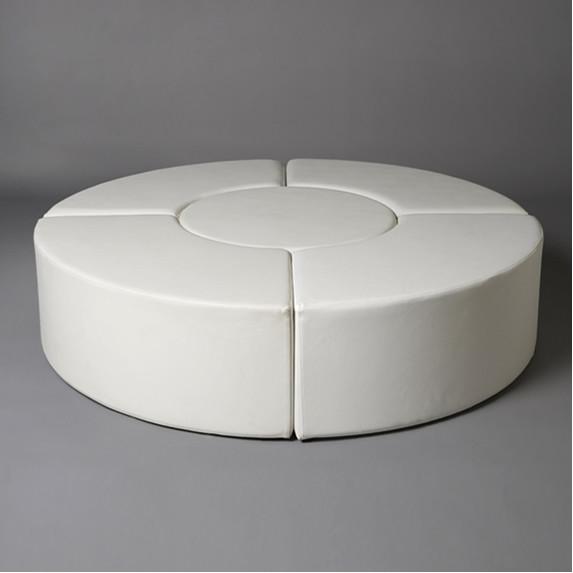3: Large White Round Pouf