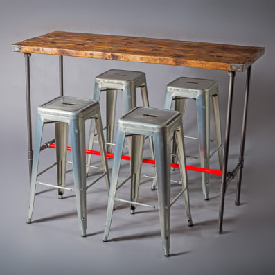 4: Rustic Industrial Style Rectangular High Poseur Tables