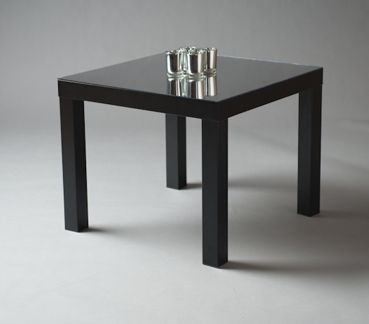 2: Black Squared Mirrored Top Table