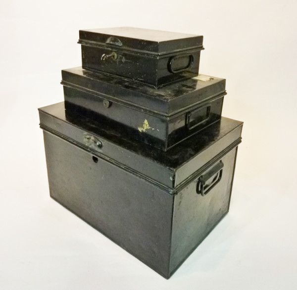 2: Stack of Small Black Matching Metal Chests