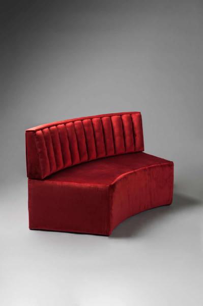 2: Curved Red Velvet Modular Sofa
