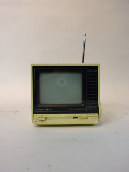 4: White Portable Mini 1980's TV
