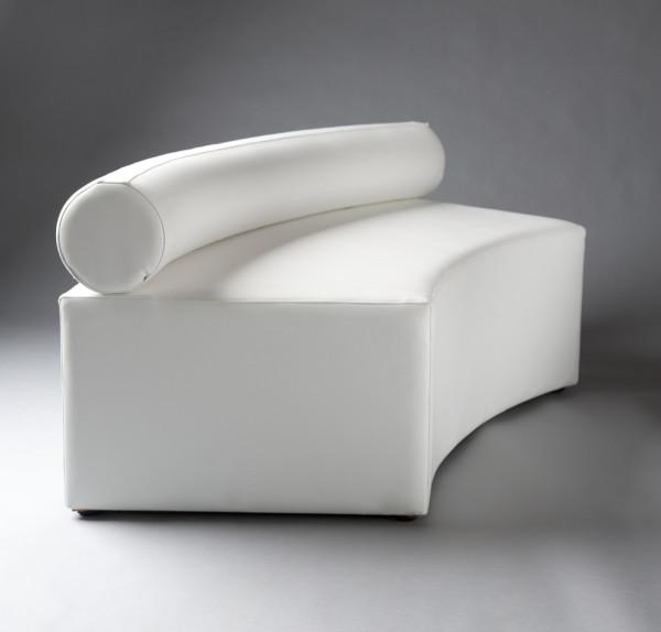 2: White Single Bolster Curved Modular Sofa