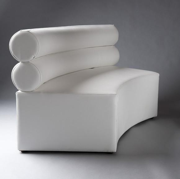 3: White Double Bolster Curverd Modular Sofa