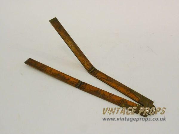 2: Vintage wooden hinged rule