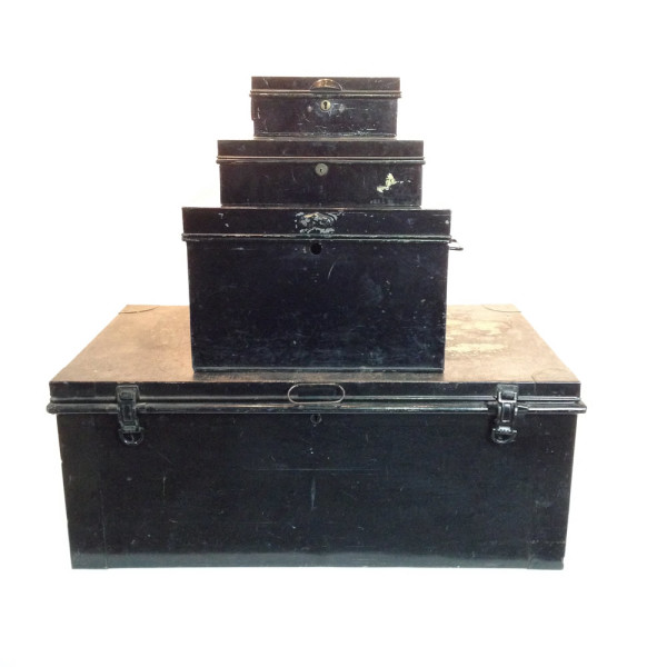 3: Stack of Black Matching Metal Chests