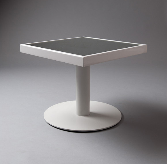 2: White Mirrored Square Top Round Foot Table