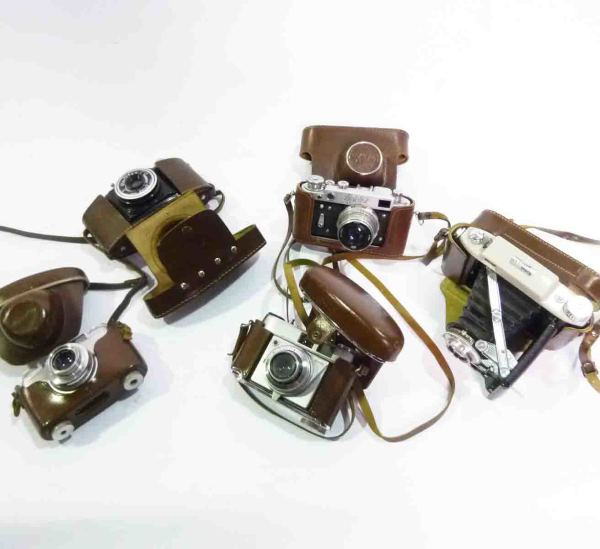 2: Brown Leather Cased Cameras