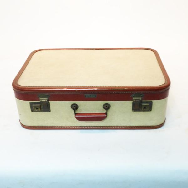 1: White with Red Trim Retro Suitcase
