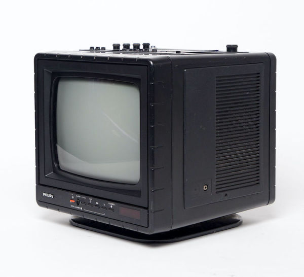 3: Fully working black & white mini portable Philips TV, Radio and Cassette Player