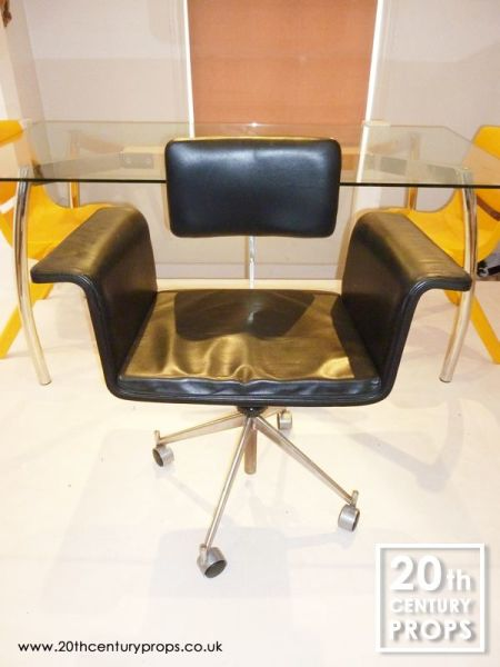 1: Scandinavian black leather office swivel chair