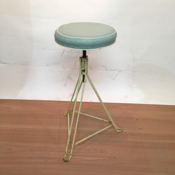 2: Metal Frame with Leather Seat Stool