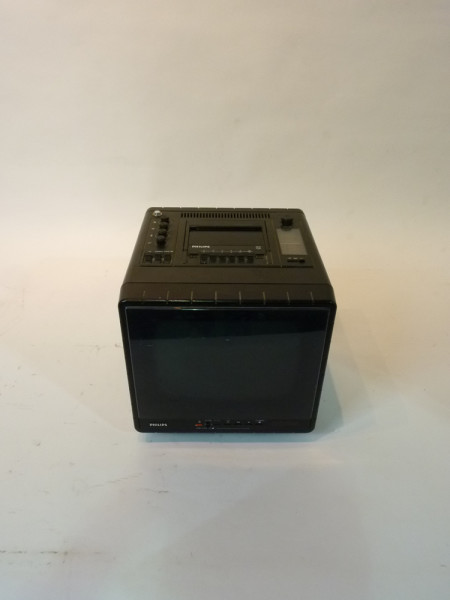 1: Black Mini Portable 1980's TV, Radio and Cassette Player