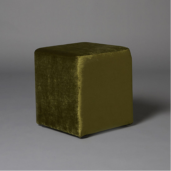 2: Small Green Velvet Square Pouf