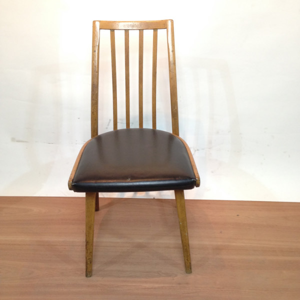 2: Wooden and Black Leather Vintage Chair