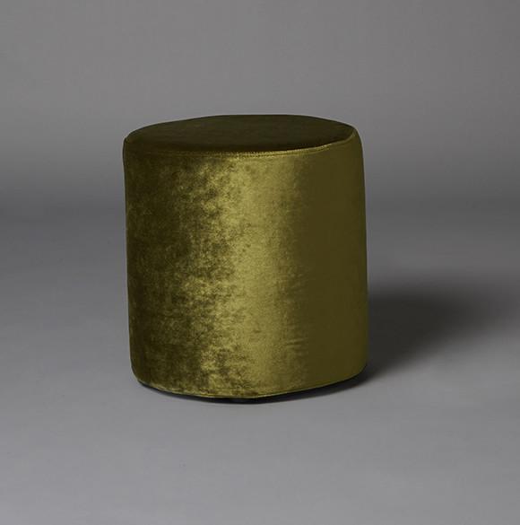 2: Small Green Velvet Round Pouf
