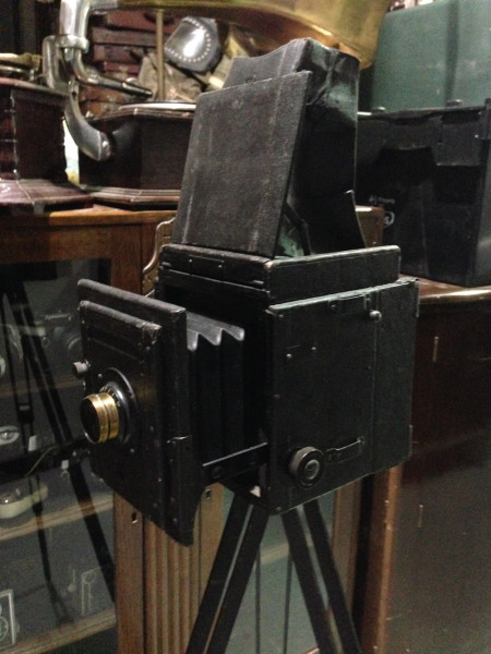2: Vintage box bellows camera with tripod