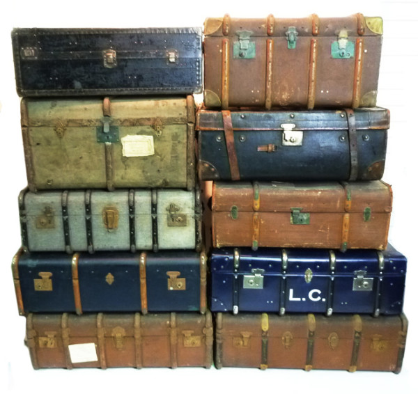 3: Stack of Various Large Vintage Travel Trunks