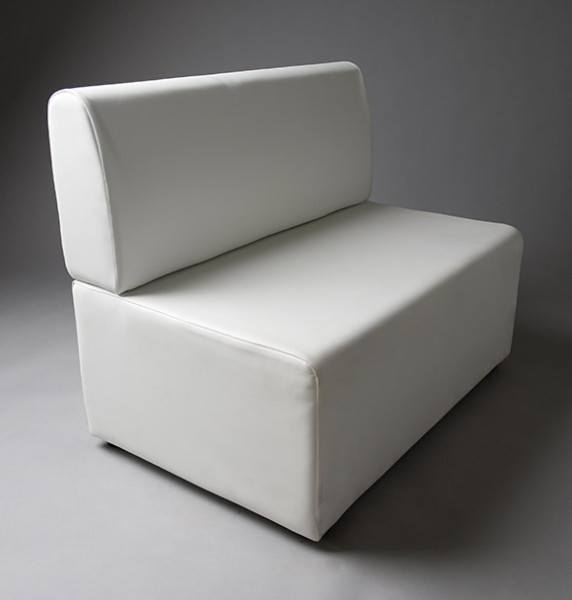 4: White Straight Back 1 Meter Length Modular Seat