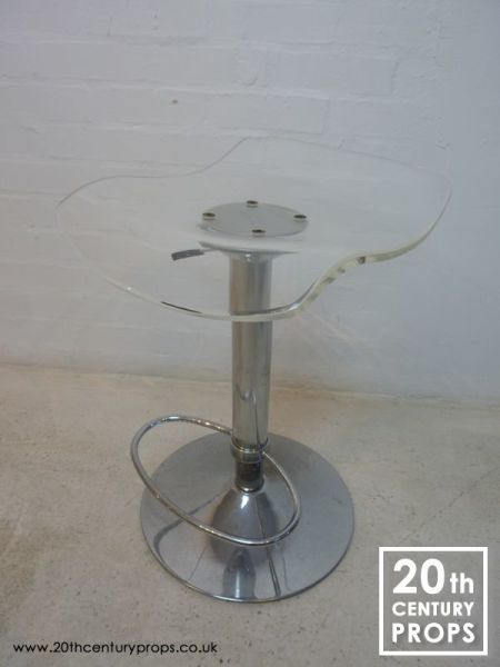 1: Retro chrome and acrylic pump action  stool
