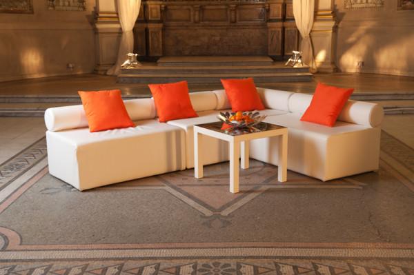 3: White Single Bolster Corner Modular Sofa