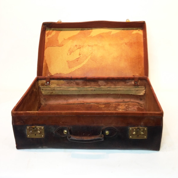 2: Dark Brown Stained Leather Vintage Suitcase