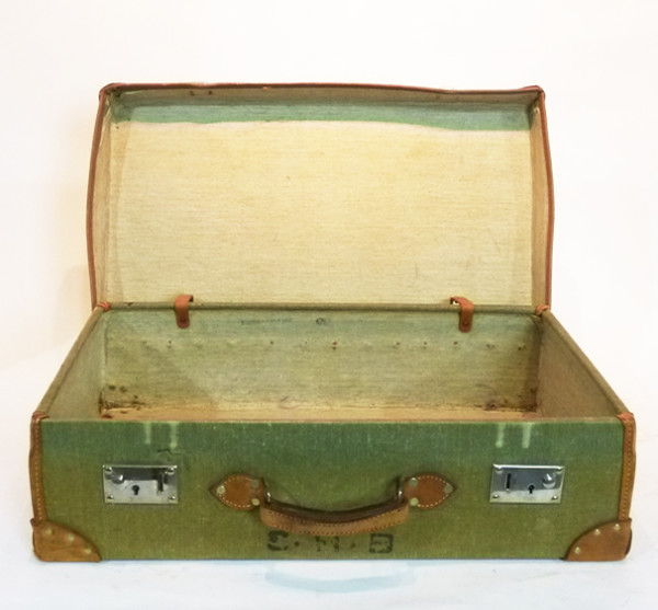 4: Pale Green Canvas with leather Trim Vintage Suitcase