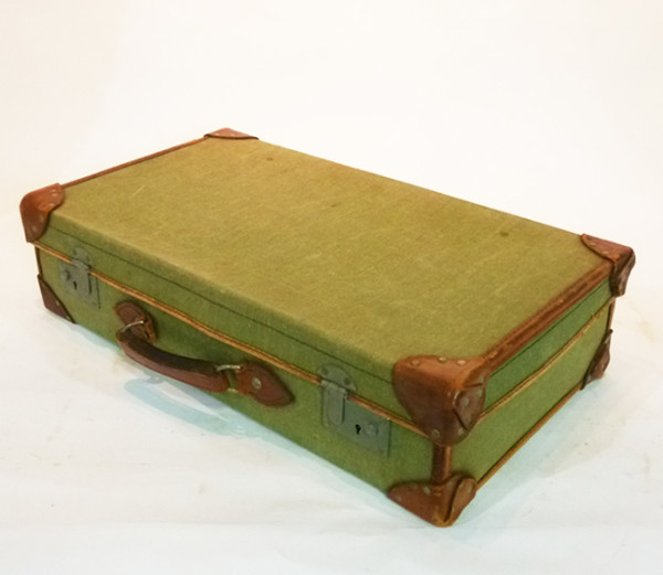 5: Green Canvas with leather Trim Vintage Suitcase
