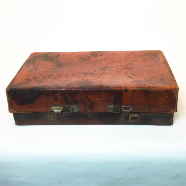 1: Distressed Brown Vintage Leather Suitcase