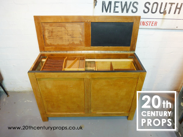 1: Oak storage unit with sliding trays
