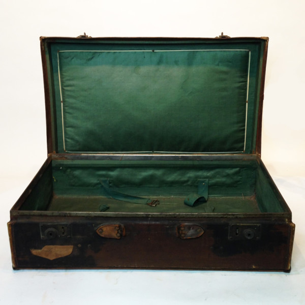 2: Dark Brown Stained Leather Vintage Suitcase 2