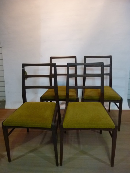 4: Wooden and Mustard Fabric Vintage Chair