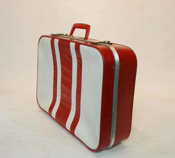 4: White with Red Stripes Soft Shell Retro Suitcase