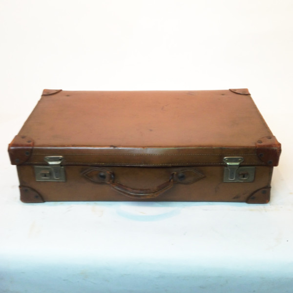 1: Light Brown Leather Suitcase