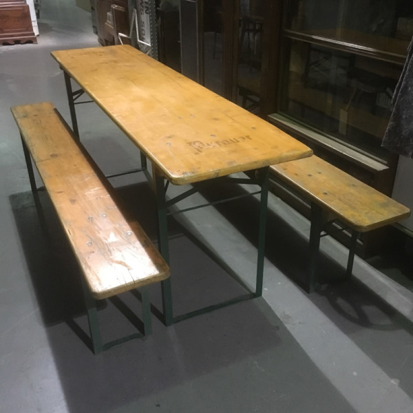 3: Vintage Rustic German Beer Tables And Benches