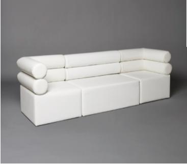 2: White Double Bolster Modular Seat Sofa