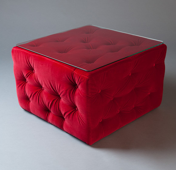 2: Red Amura Pouf Table