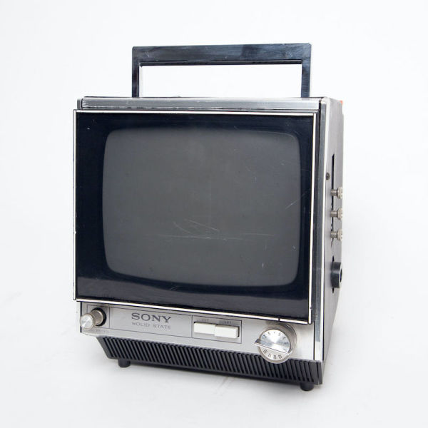 2: Static only Sony Solid State transistor mini portable black TV