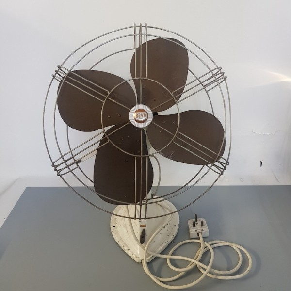 2: Brown and cream industrial fan