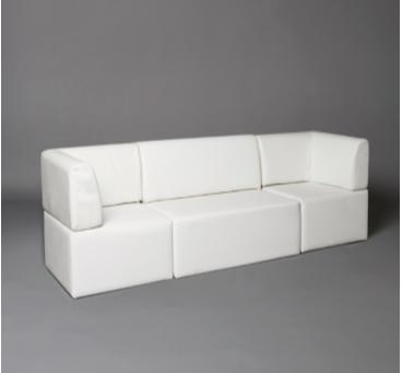 2: White Straight Back Modular Seat Sofa