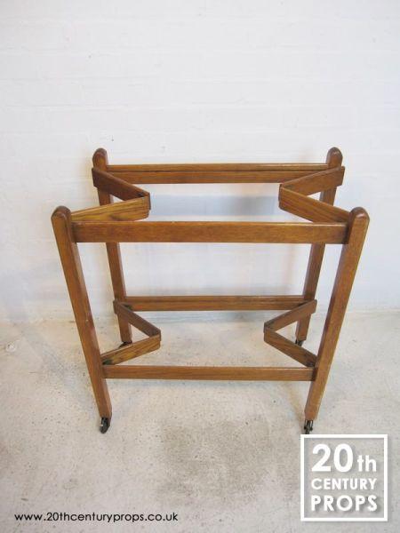 2: Folding oak 2 tier hostess trolley