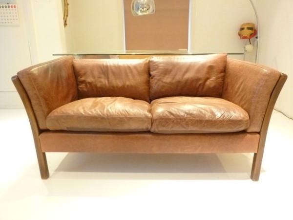 3: Danish 2 seater leather sofa