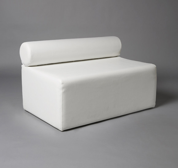 3: White Single Bolster 1 Meter Length Modular Sofa